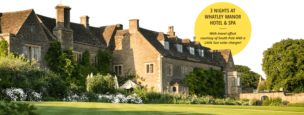 Whatley Manor Hotel & Spa - 3 Nights at Whatley Manor Hotel & Spa - with travel offset courtesy of South Pole and a Litl Sun Solar charger!