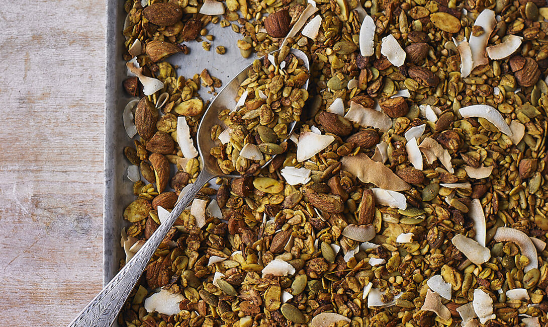 Savoury oat and buckwheat-granola